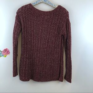 Loft Maroon Open knit long sleeve sweater size XS